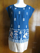 Anthropologie women's blue golden embroidred lined dress Size 6 NWT