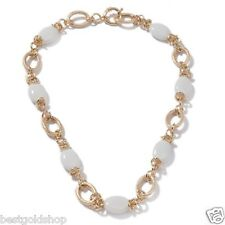 Technibond REAL White Agate Gemstone Chain Necklace 14K Yellow Gold Clad Silver