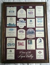 """FRAMED NAPA VALLEY WINERIES COLLAGE of VINTAGE CALIFORNIA  WINES 28"""" by 21"""""""