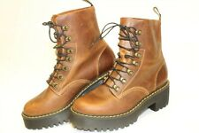 Dr Martens Docs Womens 8 38 Leona Leather Booties Platform Heels Ankle Boots