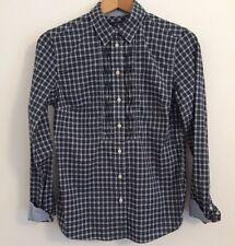 GANT Ladies Check Tartan Cotton Blue Shirt Smart Casual Weekend Relaxed UK 10