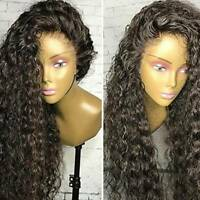 Deep Curly Wave Full Lace Front Wigs Brazilian Remy Human Hair Wig Baby Hair @@Q