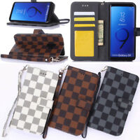 Luxury Grid Leather Wallet Strap Case Cover For Samsung Galaxy Note 9 S8 S9 Plus