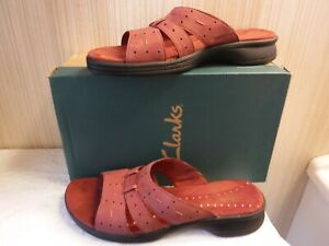 """Clarks Women's Slip on Sandal """"Sunmelody"""" in RED Leather ~ New in Box ~ Size 9 M"""