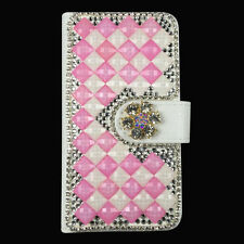 New Diamond Flip Metal Stand Wallet Leather Case Cover For iPhone Phone