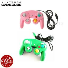 2 lot Green + Pink Shock Game Controller Pad for Nintendo Gamecube GC NGC Wii