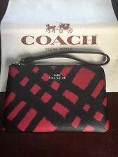NWT Coach 23715 Corner Zip wristlet In PVC printed Wild Plaid Black & Red