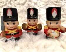 Vintage British Christmas Soldiers Playing Instruments Set Of 3 Fine Ceramic 3�