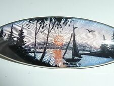 Art Deco Silver Enamel Brooch Aksel Holmsen Norway Midnight Sun Sail Boat