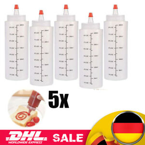 5x Kitchen Kunststoff Squeeze-Flasche Dispenser Menage für Sauce Öl Essig