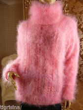 Mohair Hand Knitted Fluffy Peach Pink T-Neck Sweater Jumper Pullover; size L
