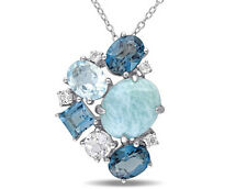 """Sterling Silver Larimar and Blue and White Topaz Cluster Necklace Pendant 18"""""""