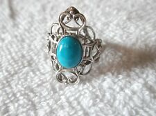 ESTATE 10K White Gold Oval Cabochon Turquoise Ring