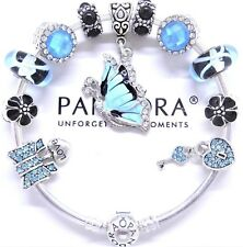 Authentic Pandora Silver Charm Bracelet With Blue Crystal Heart European Charms.