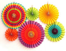 Set of 6 Colorful Paper Fans Fiesta Supplies Home Decor Party Hanging Favors