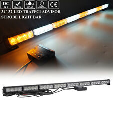 "34"" Led Traffic Adviser Emergency Warning Safety Car Strobe Lightbar Amber White"