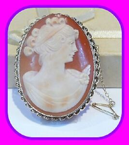 LARGE HEAVY 13.18G 9CT GOLD GENUINE VINTAGE SHELL CAMEO ENGLISH BROOCH FULL HM