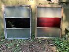 Vintage Window Frames Red And Frosted Bubble Glass Large Set Of Two 34x43