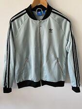 ADIDAS Originals Retro Jacket Sz 14 Light Blue With Black Stripes Zipper Pockets