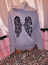 Victorias Secret Angel Wings Hoodie Supermodel Gray W/ Black Sequin Wings XS