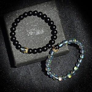 2Pcs Couple His And Hers Distance Bracelet Moonstone Bead CZ Crown Lovers Unisex