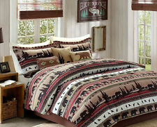 Bears, Mountains, Cabin, Lodge, King Comforter Set KO (8 Piece Bed In A Bag)