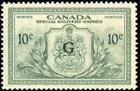 Canada Mint H 1950 VF 10c Overprinted G Scott #EO2 Special Delivery Stamp