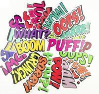 Comic Book Words Sticker Pack Lot, PVC Vinyl Laptop Decal Skateboard Graffiti