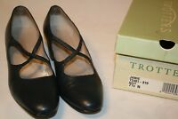 """Trotters Womens Jamie Navy Blue Leather 2"""" Heels Shoes Size 7.5 N Like Mary Jane"""