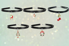 5 Pcs Christmas Festive Designs Faux Leather Choker Necklace Set