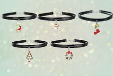 5 PZ Natale Festive Designs Collana Girocollo in finta pelle Set