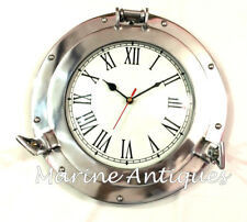 Antique Aluminum Porthole Wall Clock Vintage Battery Quartz Home Decor Clock