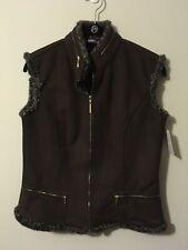 St. John Sport Brown Fur Vest, Size Small