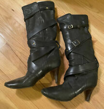 Chloe Black Leather Strappy Buckle Leather Boots