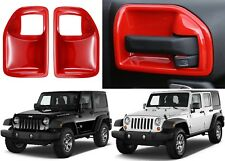 2pc Red Interior Door Handle Recess Guards For 2011-2017 Jeep Wrangler New USA