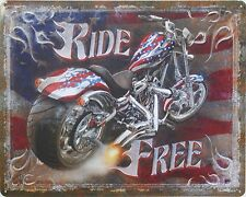 Tin Metal Sign USA biker Ride free HD harley davidson bike motorcycle custom bmw
