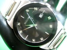 BULOVA 96D121 MEN'S CASUAL WATCH S/S BLACK DIAL 35.00 MM CASE ANALOG/ DAY/DATE