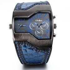 Military Men's Watch Dual Time Irregular Dial Leather Quartz Sports WristWatch