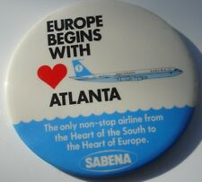 Vtg Airplane Sabena Belgian World Airline Large Advertising Button Pin Europe