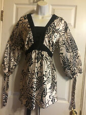 Motherhood Maternity Womens Blouse Black White Floral Sash Tie Back Size XL