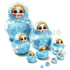 10pcs Wooden Russian Hand Painted Stacking Nesting Doll Babushka Matryoshka Gift