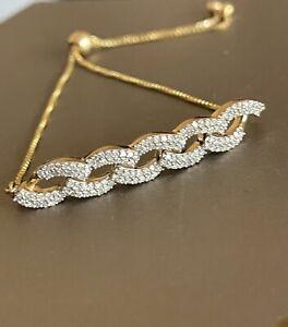 Solid 9ct Yellow Gold Diamond Bar Bracelet 0.50ct Adjustable Toggle