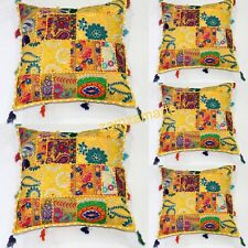 Yellow 5 PCs Patchwork Cushion Pillow Cover Set Indian Mandala Home Decorative