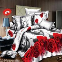 3D Printing Marilyn Monroe QueenVivid Rose Floral Bedding Set 200*230 4pcs