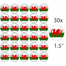 "WALES - 30 x 1.5"" Rice Paper Cake Toppers - Free P&P WELSH DRAGON"