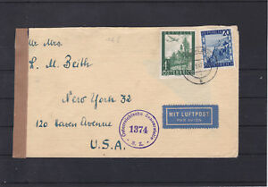 Ö 1947 Flugpost 3. Gewichtsstufe Portorichtig Pöchlarn - USA Zensuriert