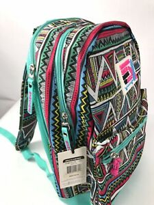Sketchers Social Living 92 Padded Backpack Book Bag Turquoise 3 Section