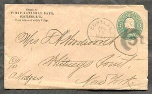 USA Stationery Cover #U45. CORTLAND NY CDS & Cork Cancels    (p0570)