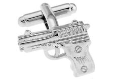 Pistol Cufflinks Silver 9mm Police FBI DEA Wedding Fancy Gift Box Free Ship USA