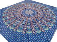 Couvre-lit indien Éléphants Dessus de lit Jeté de canapé Batik Inde Coton Bleu